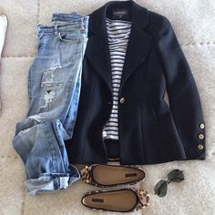 My white/black striped shirt with a leather jacket... A must this fall season!