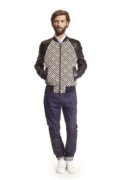 AMI PARIS - COTTON AND SILK JACQUARD, LEATHER SLEEVESBIMATERIAL ZIPPED JACKET from ami