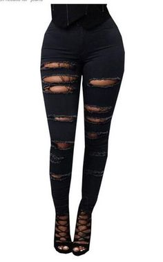 81a611c5b7505 Woman Plus Size Ripped Hole Elastic Jeans High Waist Jeans
