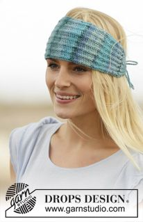 "Knitted DROPS head band with false English rib in ""Fabel"". ~ DROPS Design"
