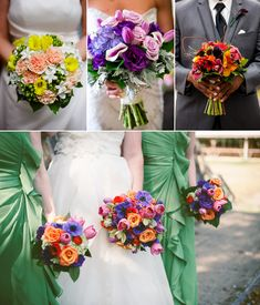 Colorful, vibrant bride bouquets in corals and yellow, purple, burgundy, and jewel tones.   Wedding Day Bouquets