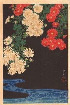 Ohara Koson Japanese Woodblock Print Chrysanthemums www.asianartswest.com