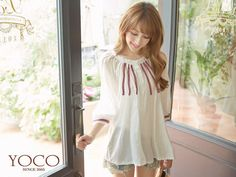 Elbow-Sleeve Patterned-Trim Shirred Top, Off,White , One Size - Tokyo Fashion | YESSTYLE