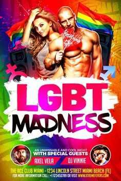 LGBT Flyer Template - http://xtremeflyers.com/lgbt-flyer-template/ LGBT Flyer Template PSD was designed to advertise a gay pride in your club / bar / pub.   #Flyer, #Gay, #Lgbt, #Poster, #Pride, #Psd, #Template