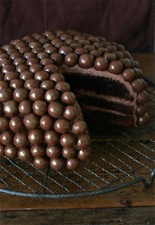 Stolen from LaylaGrace.com...malted milk balls on the outside of a cake!