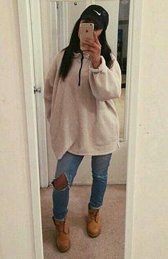 nike baseball cap light ripped jeans tan sweatshirt/cardigan timberland boots