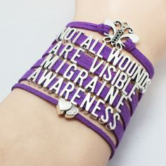 Purple Ribbon Chron's Disease Awareness Bracelet Not All Wounds Are Visible Purple Chron's Disease Awareness Bracelet. You will get the same bracelet as the pictures, and the charms are antique silver, this is a very good choice to give as a gift Chronic Fatigue Syndrome Diet, Chronic Fatigue Symptoms, Chronic Migraines, Chronic Illness, Chronic Pain, Fibromyalgia Syndrome, Fibromyalgia Pain, Endometriosis, Rheumatoid Arthritis