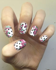Floral Polka-dot Nail Art | via Tumblr