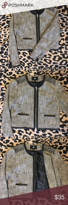 H&M tweed and rhinestone cropped jacket Gray and black tweed rhinestone cropped jacket with wrist zippers H&M Jackets & Coats Blazers