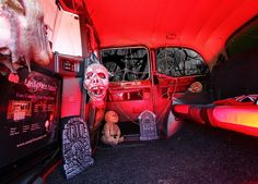 Interior of our horror themed taxi photo booth