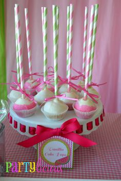 Vanilla cake pops at a Strawberry watermelon party #cakepops #party