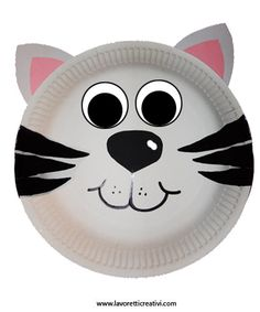 Maschere Carnevale con piatti di carta – Gatto Paper Plate Masks, Paper Plate Animals, Paper Plates, Fun Crafts For Kids, Craft Activities For Kids, Diy For Kids, Animal Masks For Kids, Mask For Kids, Cat Mask