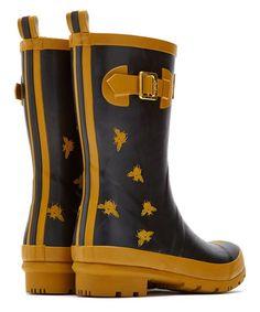 Black Bees Buckle Rain Boot!