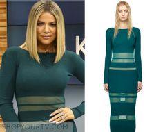 Good Morning America: Jan 2016 Khloe's Green Mesh Stripe Dress