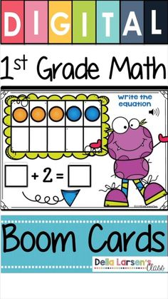Boom Cards for first grade math. First Grade Operations and Algebraic Thinking. These digital self-checking addition and subtraction task cards are a great way to give your first grade students practice with the Common Core Standards For Math. First Grade Addition, Math Addition, Addition And Subtraction, Kindergarten Math Activities, Kindergarten Classroom, Math Resources, 1st Grade Math, Third Grade, Interactive Learning
