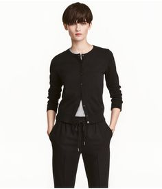 Check this out! Fine-knit cardigan in cotton with a round neckline. Ribbing at cuffs and hem. - Visit hm.com to see more.