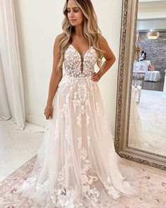v-neck spaghetti straps wedding dress, lace applique bridal dress Aline Wedding Dress Lace, Wedding Dress With Pockets, Wedding Dresses With Straps, Colored Wedding Dresses, Dream Wedding Dresses, Bridal Dresses, Wedding Gowns, Wedding Dress Styles, Wedding Bells