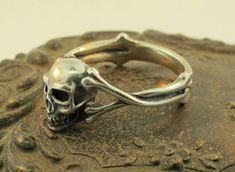 Silver Skull and Crossbone Ring by martymagic on Etsy, $95.00