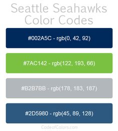 Team Colors of the Seattle Seahawks. Hexadecimal and RGB Codes for the Seattle Seahawks Logo. Hex and RGB Color Palette Schemes for the Seattle Seahawks Jerseys. What colors are the Seattle Seahawks? Boys Bedroom Colors, Boys Bedroom Paint, Kids Room Paint, Boys Room Decor, Boy Room, Seahawks Colors, Seahawks Game, Nfl Team Colors, Rgb Color Codes