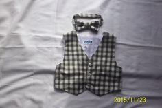 Baby/Toddler Green and Beige Plaid Suiting Vest and Matching Bowtie- Size  2T, 3T,4T,5T by anncraftcorner on Etsy