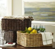 shayne bar baskets for bar utensils and linens | pottery barn #PBPINS