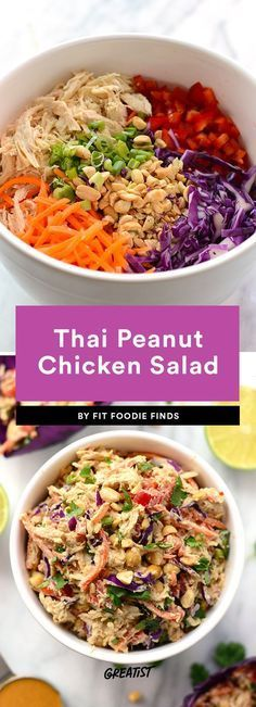 1. Thai Peanut Chicken Salad #greatist https://greatist.com/eat/healthy-chicken-salad-recipes