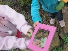 """I love this idea! This activity gives children the chance to look at specific details of the outdoors more closely using a """"nature window"""" (foam square with straw handle). Children engage with the outdoors when they see all the different kinds of rocks, flower petals, and other parts of nature. Great idea for outdoor exploration!"""