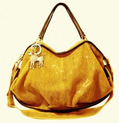 Must find on sale! Amazon.com: Charmes Yellow Mustard Leather Handbag - Glossy Satchel or Shoulder Bag with Charm (Genuine Leather) MSRP $269 (Large) - Yellow and Brown: Clothing
