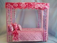 American Made Pretty And Pink New Canopy Bed Bedding Fits 18 In. Dolls
