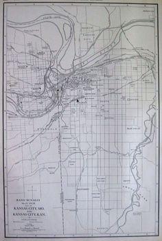 1927 Rare Kansas City Map Original Map Of Kansas City Black And White Map 2041