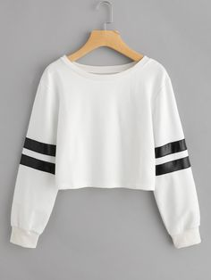 9d326ca577 ROMWE - ROMWE Varsity Striped Crop Sweatshirt - AdoreWe.com Crop Top  Sweater