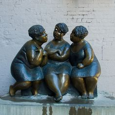 """""""Have you heard?"""" - [Les chuchoteuses (The Gossipers) on rue Saint-Paul - Montreal, Quebec, Canada. This bronze (human-type) statue is by Canadian artist Rose-Aimee (Morin) Belanger.]~[Photograph by Ennev (Stephane Venne) - February 16.2013]'h4d-03.2013'"""