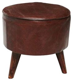 * Brown Leather Stool, ideal for casual added seating or side table Leather Stool, Wooden Stools, Brown Leather, Ottoman, Chair, Table, Furniture, Home Decor, Decoration Home