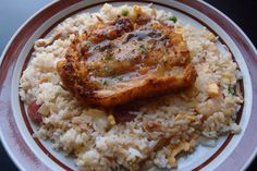Lemon glazed chicken with yang chow fried rice
