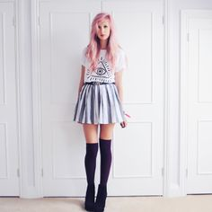 Dark purple otk socks, pleated grey skirt and white t-shirt