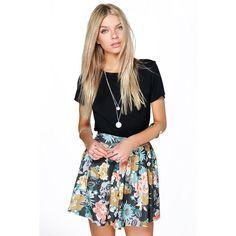 Boohoo Aerin Tonal Floral Flippy Skater Skirt ($20) ❤ liked on Polyvore featuring skirts, multi, midi skirt, circle skirt, white skater skirt, pleated skater skirt and midi skater skirt