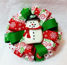 "Stacked Flower Loop Hair Bow - Christmas Snowman 3"" Stacked Hair Bow Dual Tier Resin Christmas Snowman Embellishment Covered Metal Alligator Clip with Slip Resist Pad Christmas Holiday and Coordinatin"