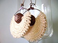 Crochet Earrings, Cream Beige Hoops, Beige and Brown Hoop Earrings, Angel Earrings, Thread Tribal Ea Macrame Earrings, Tribal Earrings, Hoop Earrings, Form Crochet, Easy Crochet, Crochet Earrings Pattern, Crochet Patterns, Terracotta Jewellery Making, Angel Earrings
