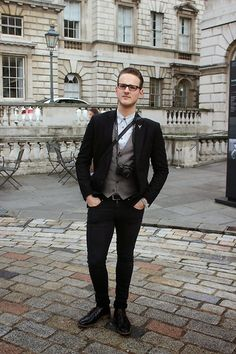 HM Black Flecked Blazer, Next Stone Donegal Waistcoat, Ark Dr. Denim Snap Jeans, Next Black Leather Chukka Boots