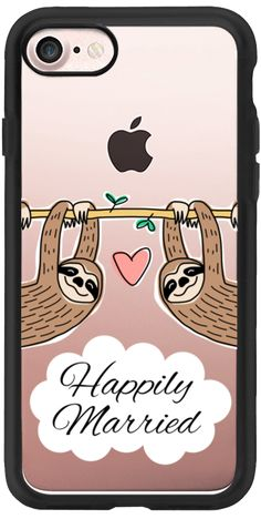 Casetify iPhone 7 Classic Grip Case - Happily Married -  Sloth Couple - Wedding - Animal - Love - Pink Heart by Happy Cat Prints #Casetify