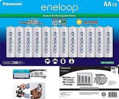 Aa Eneloop-Panasonic Rechargeable Batteries 2100 Cycle Ni-Mh 2000Mah 12 Pack New #Panasonic 10 Years, Solar, Garden, Ebay, Garten, Gardens, Tuin, Yard, Sun