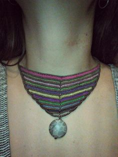 macrame necklace with fossiled coral stone