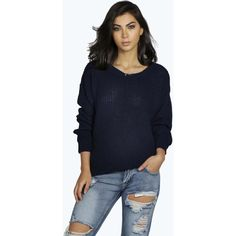 Boohoo Katherine Oversized Jumper ($20) ❤ liked on Polyvore featuring tops, sweaters, navy, crop top, heart print sweater, oversized slouchy sweater, striped crop top and striped sweater