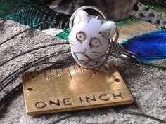 Ring Cat Bead Milk Glass Silver Non Tarnish by CherylsGoodStuff, $4.50