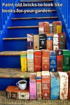 Schilder bakstenen als boeken voor in je tuin