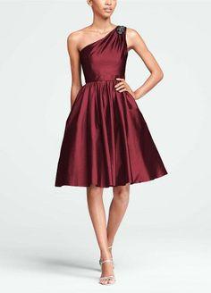David's Bridal Bridesmaid Dresses Short One Shoulder Taffeta Dress with Beading Style F15409 $149.00 #bestseller