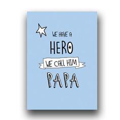 Carte fête des pères, PAPA MON HERO, Edition limitée : Cartes par vanessa-b-artiste
