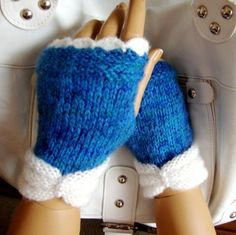 Hand Knit  Fingerless Gloves,  Blue White Mitten, Fall Fashion, Winter Accessories, Winter Fashion