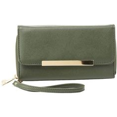 Charlotte Russe Gold-Tipped Double Zipper Wristlet Wallet (170 ZAR) ❤ liked on Polyvore featuring bags, wallets, olive, charlotte russe wallets, green wallet, green wristlet, double zip wallet and credit card holder wallet