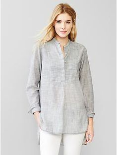 love this. extreme high-low but covering action if you are into it!  Stripe henley popover tunic